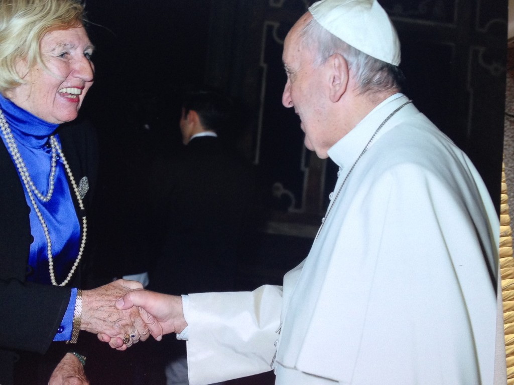 Ingird laughing with pope