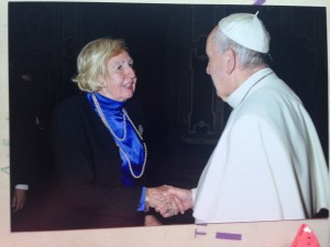 Ingrid speaking to pope