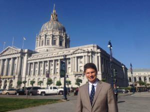 Robert J. Gaudet, Jr. standing in front of the San Francisco City Hall adjacent to the building that houses the California Supreme Court, Friday, May 27, 2016.