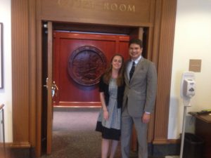 Karin Gaudet-Asmus and Robert J. Gaudet, Jr. standing before the door to the courtroom in the California Supreme Court immediately after the oral argument on Friday, May 27, 2016.